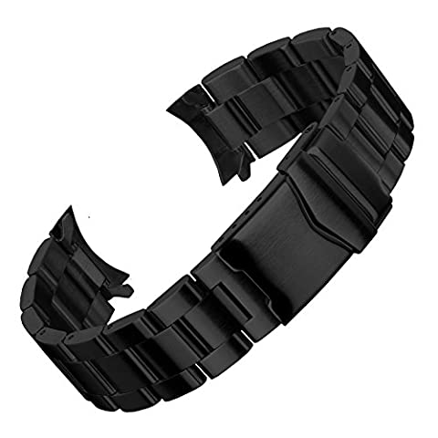 Oyster Watch Band by Geckota in a IP Black Finish with multiple curved and straight ends 20mm, 22mm