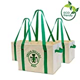 Heavy Duty Collapsible and Reusable Grocery Shopping Box Bags with Fold Out Reinforced