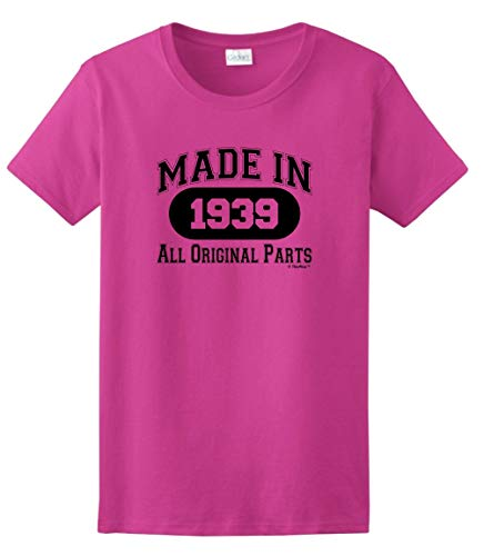 80th Birthday Gift Made 1939 All Original Parts Ladies T-Shirt Large Heliconia]()