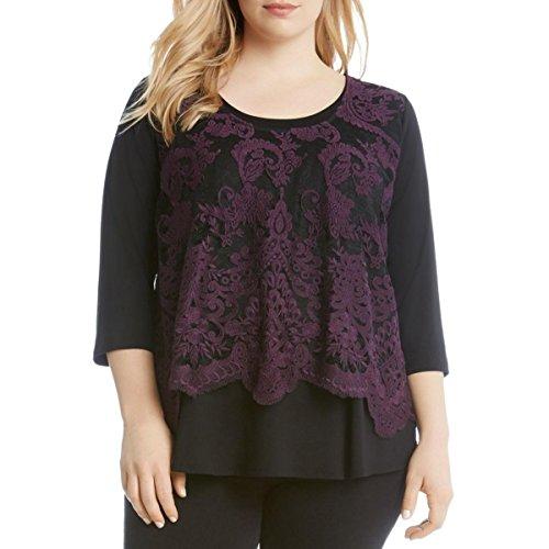 Karen Kane Women's Plus Size Lace Overlay Top, Eggplant, 0X