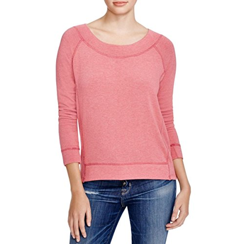Splendid Womens Contrast Stitching Long Sleeves Pullover Top Pink M