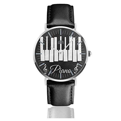 Lack Piano Keyboard Music Note Men's Fashion Minimalist Unisex Wrist Watch with Silvery Stainless Steel Watchcase, Leather Band, Crystal Dial 38mm