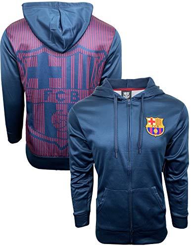 Fc Barcelona Hoodie for Adults and Kids Zip Front Fleece Sweatshirt Jacket Blue, Big Barcelona Logo in The Back