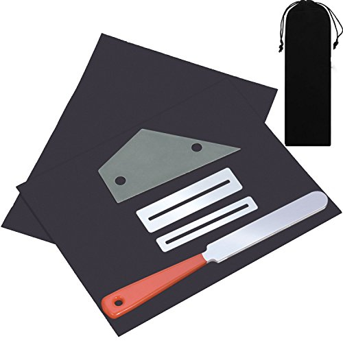 Canomo Guitar Luthier Tool Set Includes 1 Piece Guitar Fret Crowning Luthier File, 1 Piece Stainless Steel Fret Rocker Leveling Tool, 2 Pieces Fingerboard Guards with 2 Sheets Sanding Paper by Canomo