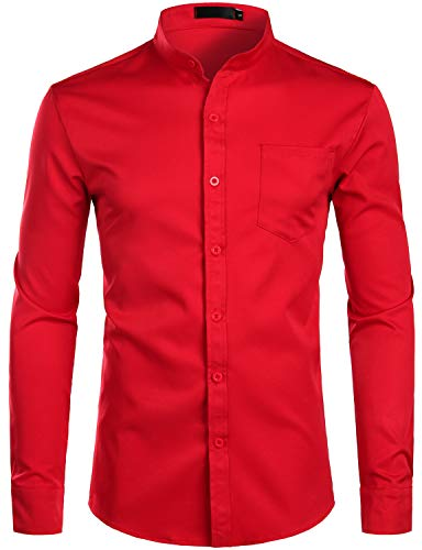 ZEROYAA Men's Banded Collar Slim Fit Long Sleeve Casual Button Down Dress Shirts with Pocket ZLCL09 Red XX-Large ()