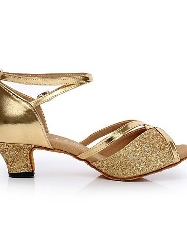 ShangYi Non Customizable Women's Dance Shoes Latin / Salsa Satin / Flocking Chunky Heel silver La3Vu7owc