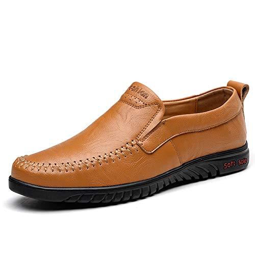 Sneerrt Zapatos Cuero Mocasines Casuales De Verano Hombre Respirable Genuino Cómodo Brown Light Primavera Pisos rrvRqY