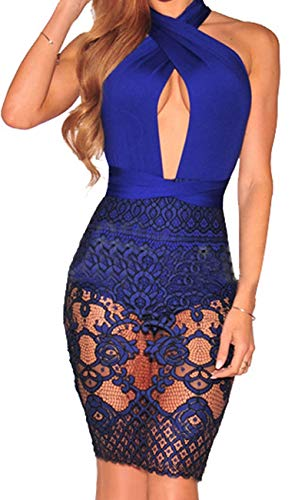 Women Sexy Lace Dress Bodycon V Neck Halter Strap Bandage Cocktail Evening Mini Pencil Suit (Small, Blue A) (Womens Black And Blue Lace Dress)