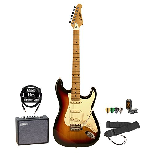 Sawtooth Electric Guitar Bundle, Sunburst (ST-ES-SBVC-KIT-5)