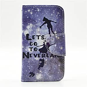 QHY Peter Pan Pattern PU Leather Full Body Case with Card Slot and Stand for iPhone 4/4S