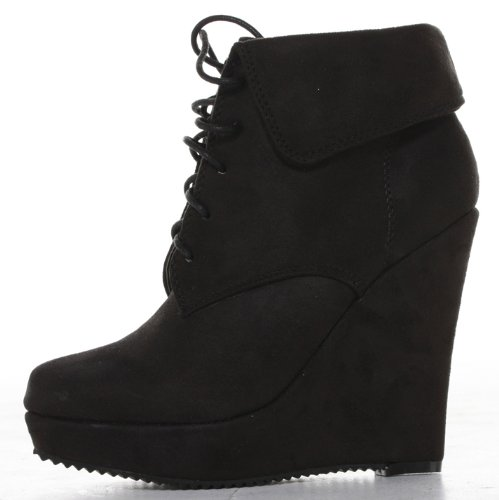 Ladies shoeFashionista Up Wedge with Womens Boots Ankle Bag Platform Shoes Wedges Boutique High Lace aaq6r