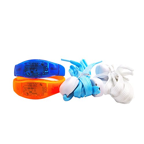 ANMIXIN LED Light-emitting Wrist Strap The Silicone Bracelet Vibrational Luminous Voice Control and Couples Luminous Shoelaces Nylon Ribbon 3 Mode Suitable for Club, Bar, Running, Stage,Skating ect by ANMIXIN