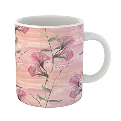 - Emvency Coffee Tea Mug Gift 11 Ounces Funny Ceramic Green Pattern Watercolor Sweet Pea Flowers on Pink Splash Wash Hand Beautiful Gifts For Family Friends Coworkers Boss Mug