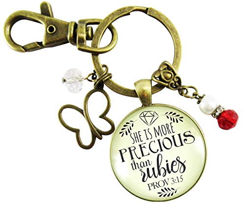 (She Is More Precious Than Rubies Keychain Faith Inspired Women's Proverbs Jewelry Butterfly Red Charm Gift Card)