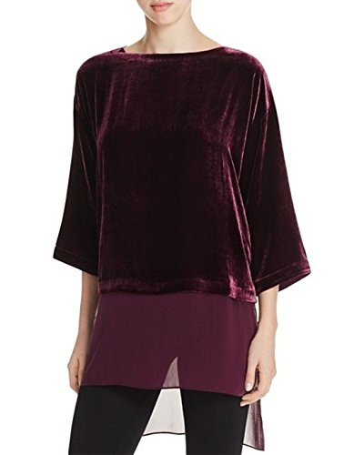 Eileen Fisher Raisinette Velvet/Silk Bateau Neck Top Tunic Size L MSRP $278