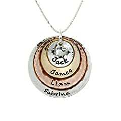 AJ's Collection My Four Treasures Necklace comes with 4 customizable discs and 1 sterling silver heart charm. You'll get one 1 ¼ inch sterling silver disc that allows 18 characters and spaces, one 1 inch rose gold plated disc that holds 16 ch...