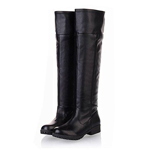 BIG S'LAND(ビッグ エスランド)進撃の巨人 ロングブーツ 長ブーツ ブーティ 長靴 コスプレ 防寒 美脚 編込み 厚底 ニーハイ レディース メンズ 大きいサイズ 滑りにくいBSLFBAJP07 (27.5  ブラック)