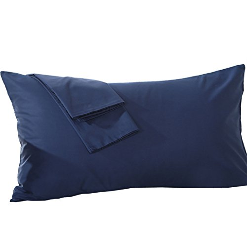 uxcell Body Pillowcase Pillow Cover, Egyptian Cotton 250 Thread Count, 1-Piece, Fits 20 x 48 Inches, Navy Blue