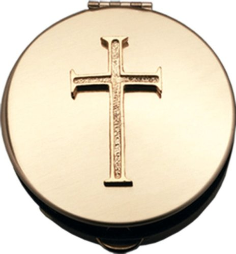 "Pyx With Cross (PS202) - 2 1/8"" Diameter, 1/2"" Deep, Polished Brass"