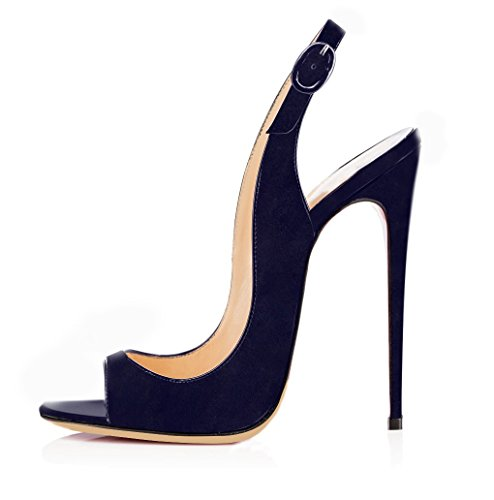 Camoscio Tacco Sandali con Scarpe Toe Cinturino Donna Slingback Fibbia Caviglia da Blu a Spillo Peep elashe FR6Hqx