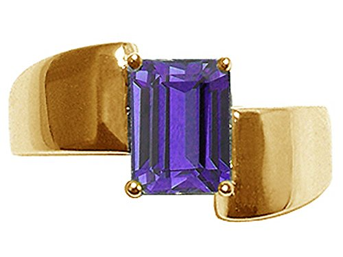 Tommaso Design Emerald Octagon Cut 8x6mm Genuine Iolite Ring 14 kt Yellow Gold Size 8.5 14k Yellow Gold Iolite Ring