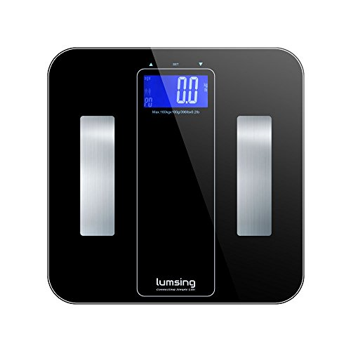 Lumsing Smart Digital Body Weight Bathroom Scale, 10 Users Auto Recognition, Measures Weight, Body Fat, BMI, Water, Muscle and Bone Mass, 180kg/400lb (Black)