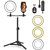 Ring Light with Stand, Foxin Selfie Ring Light with Tripod Stand & Cell Phone Holder Stand for Live Stream/Makeup, Mini LED Camera Light Desktop LED Lamp with 3 Light Modes & 11 Brightness Level