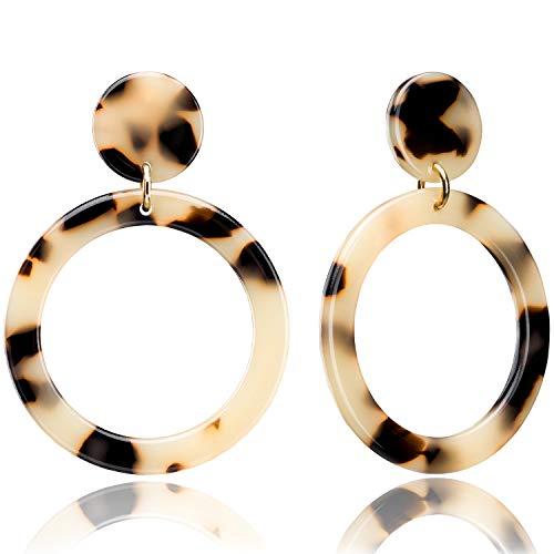 Enameljewelries Hoop Earrings Statement Acrylic Lucite Resin Round Circle Hoop Earrings with 925 Sterling Silver Post Bohemian Tortoise Shell Earrings for Women (B3#Leopard)