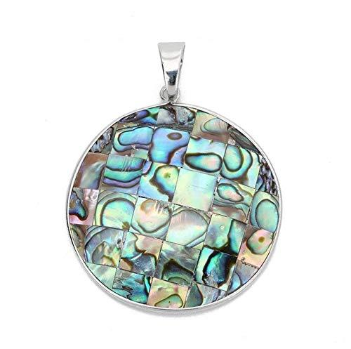 (1pcs/lot Round Natural Abalone Shell Pendant Charm Diy Jewelry Making)