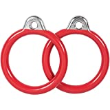Swing Set Stuff Commercial Round Trapeze Rings with SSS Logo Sticker, Red