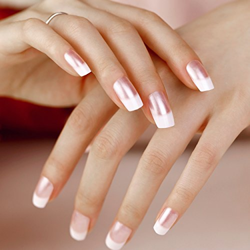 Natural French Manicure - ArtPlus Fake Nails 24pcs x 2 (2-Pack) Natural Pink Pearl Elegant Touch French Manicure False Nails with Glue Full Cover Long Length 2 Boxes in 1 Nails Art