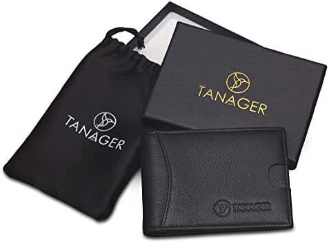 TANAGER USA slim bifold black leather front pocket RFID wallet money clip in Gift Box