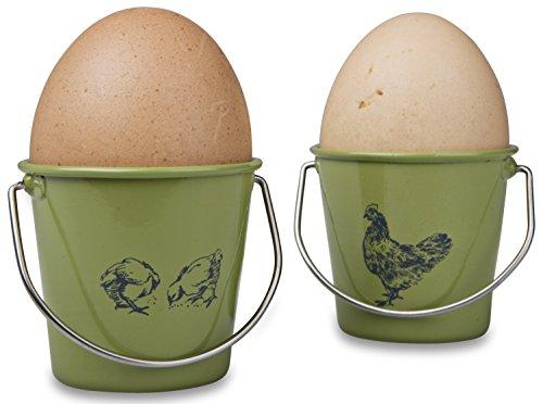 Eddingtons Vintage Hen And Rooster Egg Cups, Set Of 4, Sage
