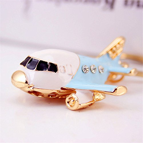 Multicolored Airplane Plane Crystal Rhinestone Keyring Car Handbag Pendant Charm Key Chain Gift (Skyblue)