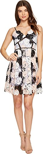 (Romeo & Juliet Couture Women's Strap Two-Tone Lace Dress Pink Combo Large)