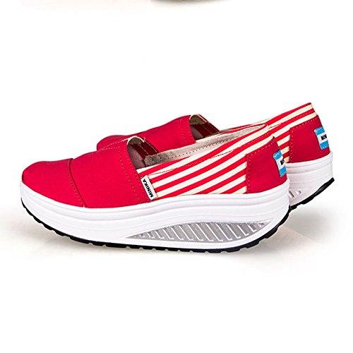 Btrada Damesmode Sneakers Ronde Top Vallen Aan Met Thict Splicing Sportschoenen Door Rood