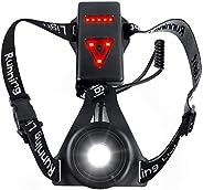 Zenoplige Running Light Lamp, Updated USB Rechargeable LED Chest Light Safety Wearable Waterproof Backlight Fl