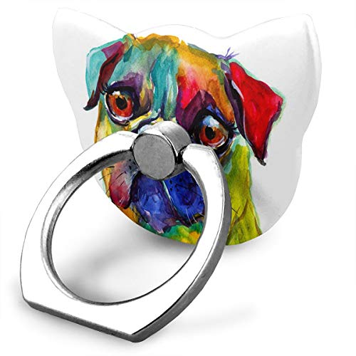 Customized Finger Ring Stand 360°Rotation Colorful Pug Dog Painting Cell Phone Ring Stand Holder Grip Universal Smartphone Ring for iPhone