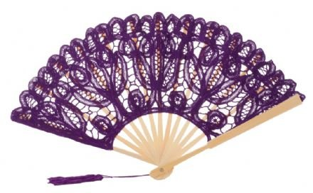The 1 For U Women's Cotton Lace Fan Black Ecru (Purple)
