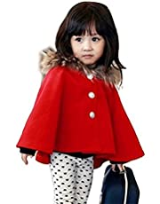 D-Sun Kids Girls Wool Blend Hoodie Capes Poncho Children Fall Winter Outwear