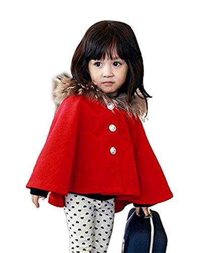D-Sun Kids Girls Wool Blend Hoodie Capes Poncho Children Fall Winter Outwear (4T, Red)