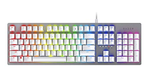 Razer Huntsman Gaming Keyboard: Opto-Mechanical Key Switches - Instant Response Actuation - Customizable Chroma RGB Lighting - Programmable Macro Functionality - Mercury White