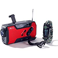 Solar + Hand Crank AM FM Radio Emergency NOAA Weather Radio + USB 2000mAh Power Bank Phone Charger & LED Flashlight w/ SOS Bonus Survival Paracord Bracelet Magnesium Flint Fire Starter Compass Whistle