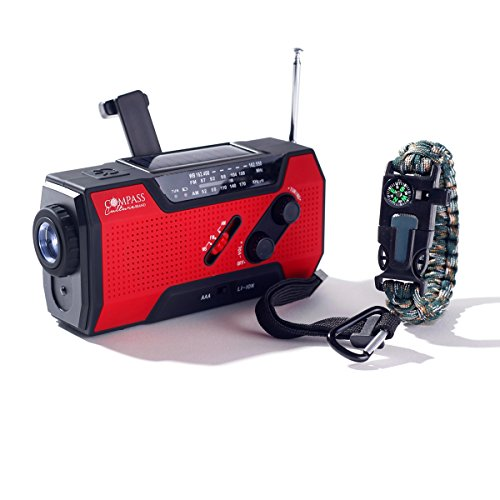Solar + Hand Crank AM FM Radio Emergency NOAA Weather Radio + USB 2000mAh Power Bank Phone Charger & LED Flashlight w/SOS Bonus Survival Paracord Bracelet Magnesium Flint Fire Starter Compass Whistle