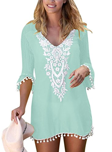 BLENCOT Women's Crochet Chiffon Tassel Swimsuit Bikini Pom Pom Trim Swimwear Beach Cover Up-Green Large