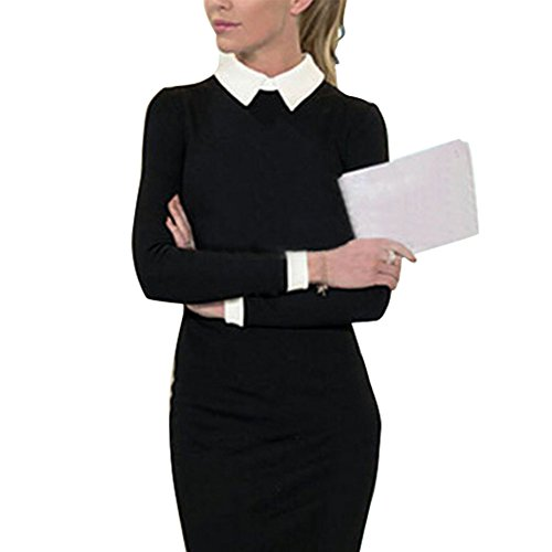 Stand CHN'S Sleeve Bodycon Dress Collar Pencil Women Office Stretch Slim Long Black ZSTYqwZ