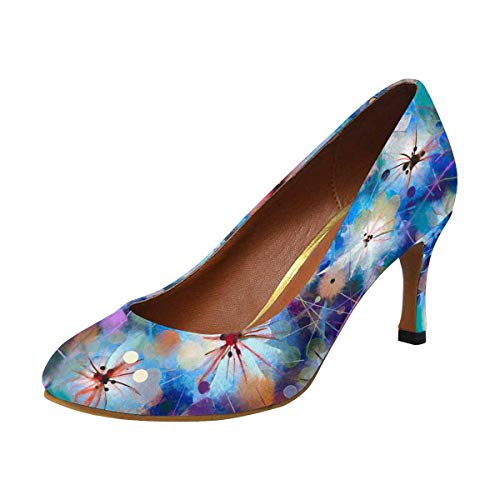 Pump Houndstooth Heel High (INTERESTPRINT Women's High Heels Dress Pump Shoes Abstract Colorful Floral US5)