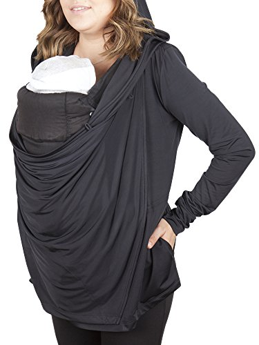 Black Licorice Hooded Nursing Cover & Babywearing Sweater (small)