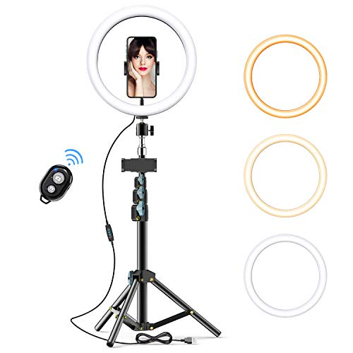 "GPEESTRAC 10"" Selfie Ring Light with Tripod Stand & 2 Phone Holders & Bluetooth Remote, LED Beauty Camera Ringlight for Photography Makeup Live Steam YouTube Video, Compatible with iPhone & Android"
