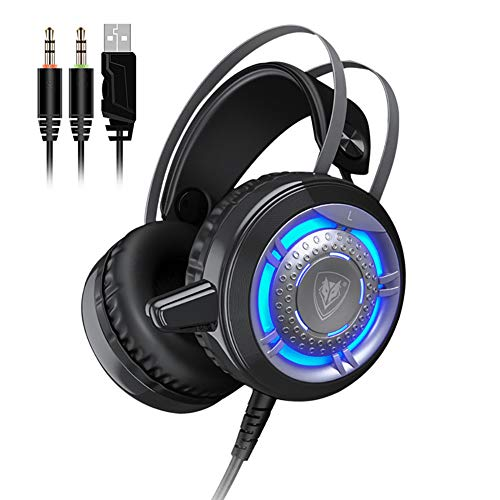 NOCTIC Stereo Gaming Headset, Unidirectional Microphone, 3.5mm +USB Jack Volume Control LED Light for Laptop Tablet Mac Smart Phone-3